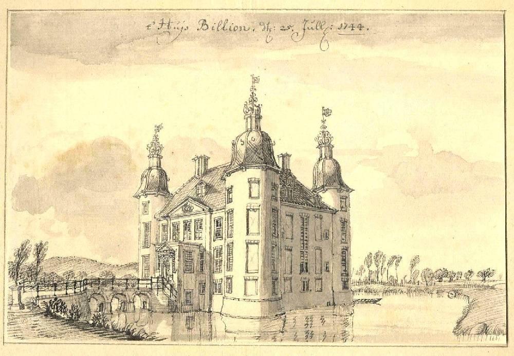 Kasteel Biljoen in Velp. Tekening Jan de Beijer, 1744